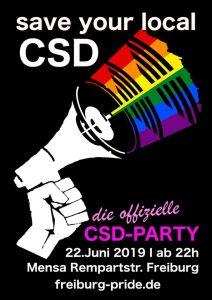 Offizielle CSD Afterparty; 22.06.2019 - ab 22h in der Mensa Rempartstraße